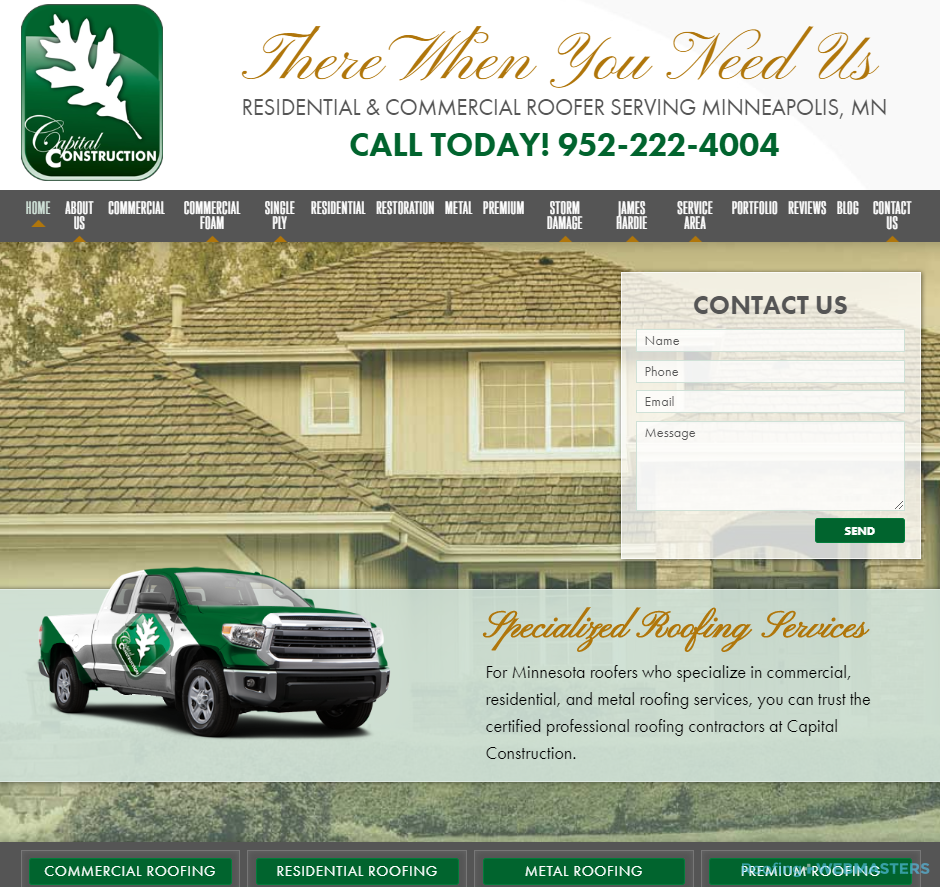 Commercial Roofing Website Example