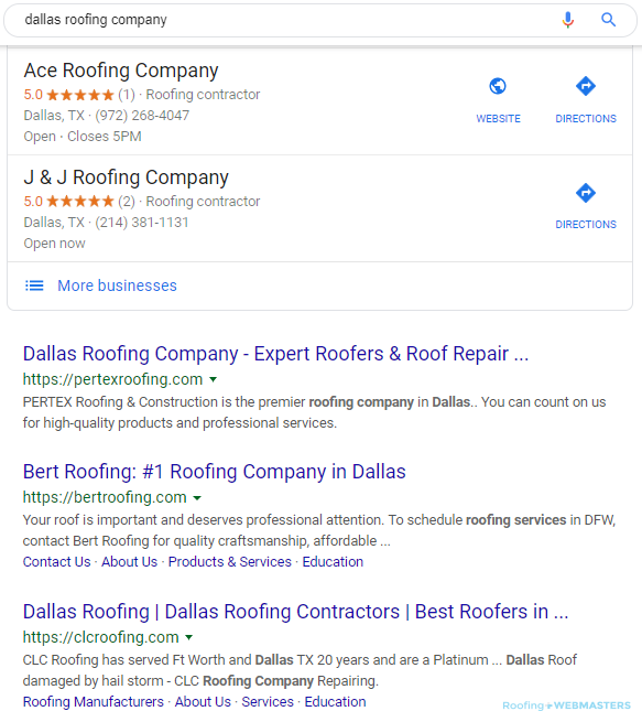 Online Marketing Results in Local Search