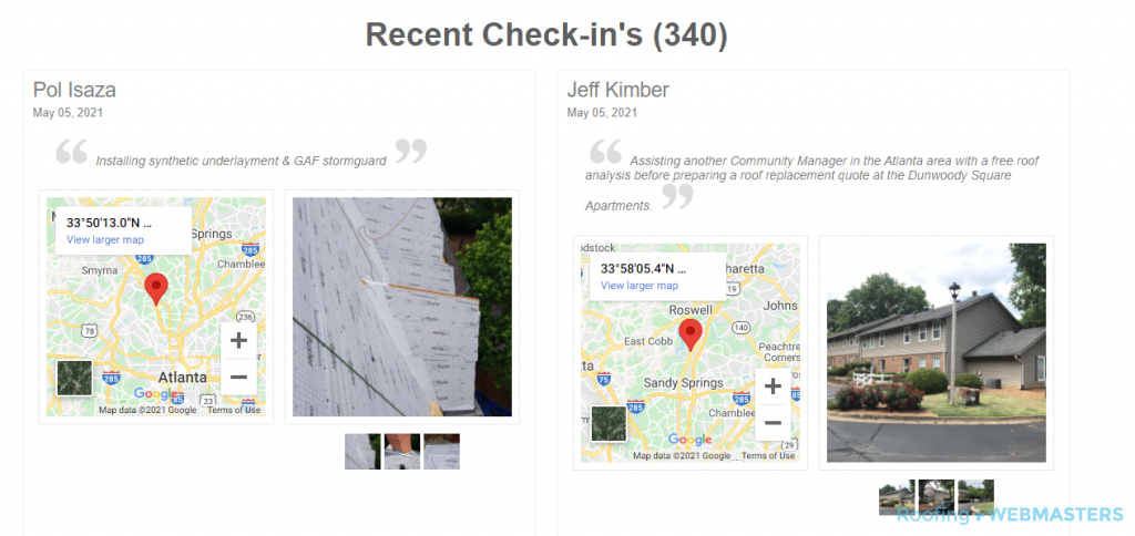Dr Roof Recent Check-ins