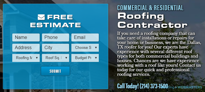This Roofing Landing Page Uses Two Calls to Action