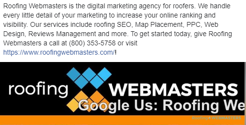 Facebook Ad for Roofers Example