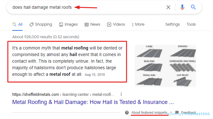Featured Snippet for Roofing