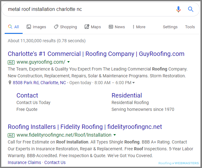 Google Ads That Could Be Sources for a Roofing Landing Page