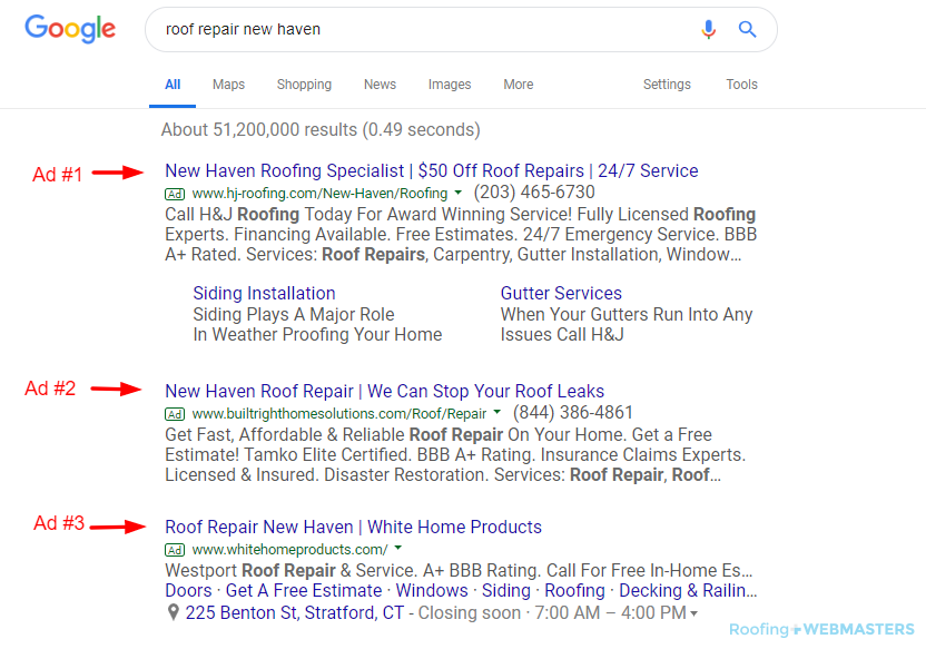 Google PPC Ads for Roofing Companies