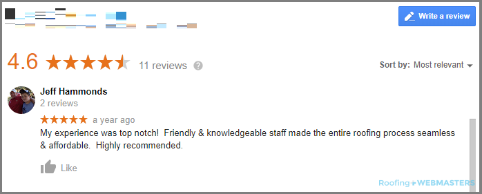 A Customer Leaves a Review for a Roofing Contractor