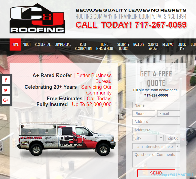 A Homepage That Shouldn't Be a Roofing Landing Page