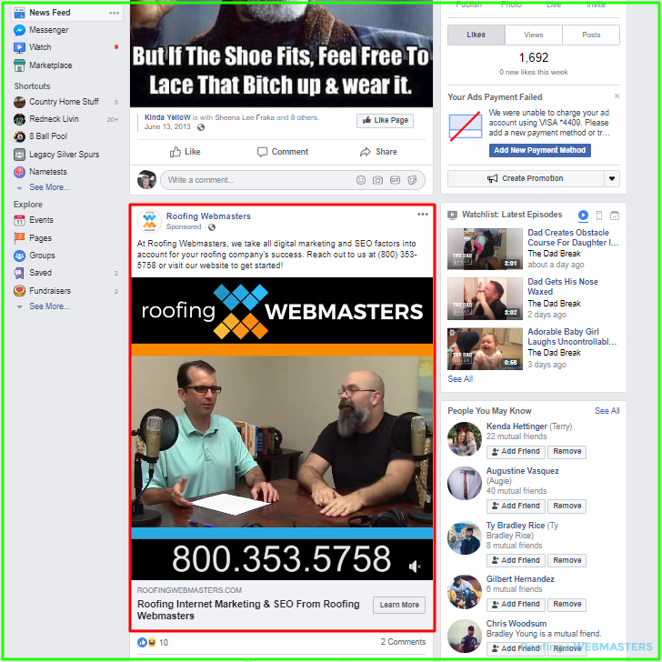 In Feed Facebook Ad For Roofing
