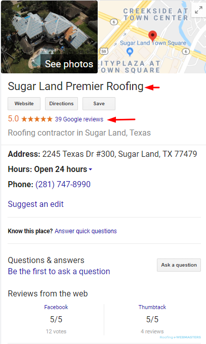 Local Roofer Google My Business Listing