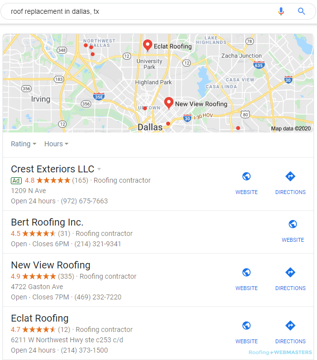 Local Roofing Companies Show in the Google Map Pack