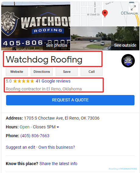 Local SEO for Roof Company