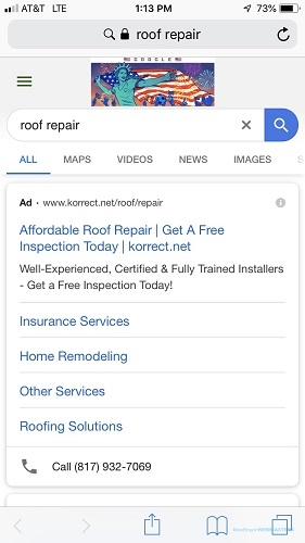 An Example of Roof Repair Mobile Advertising