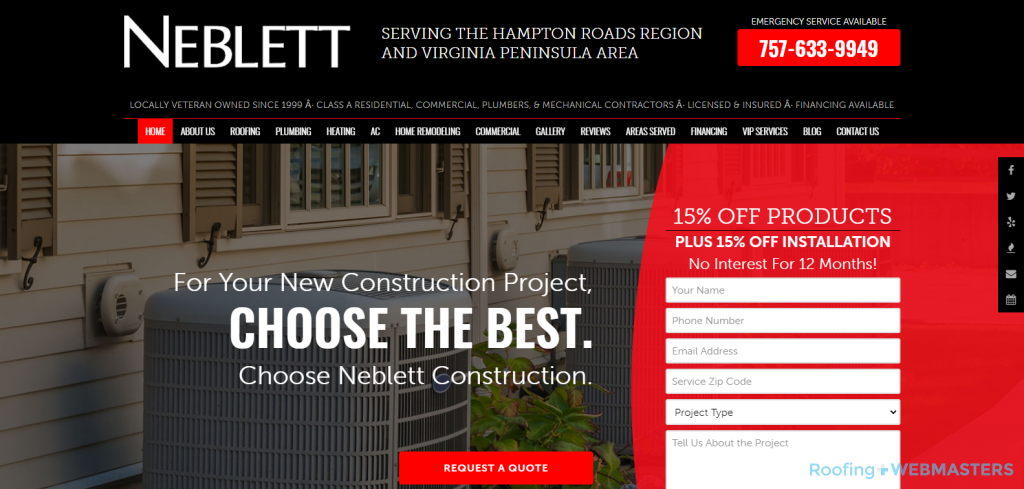 Neblett Construction Website