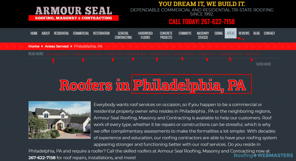 Philadelphia City Page on Roofing Website