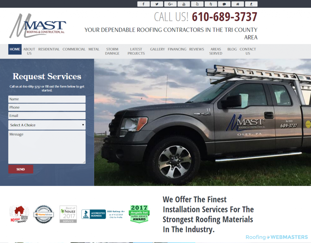 Residential Roofing Website Example