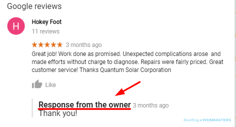 Review Response From The Owner