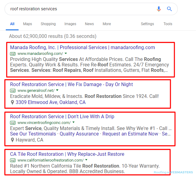 Roof Restoration Google Ads