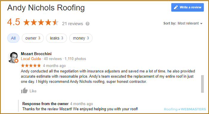 A Screenshot of a 5 Star Consumer Roofing Review