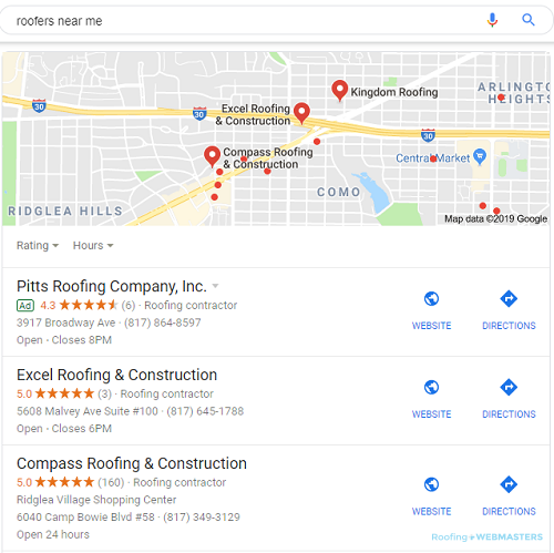 An Example of a Local Pack from Google Maps Listings