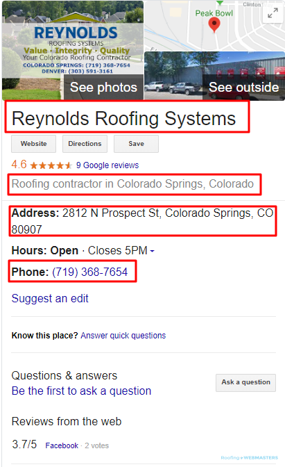 Roofing Business Citation