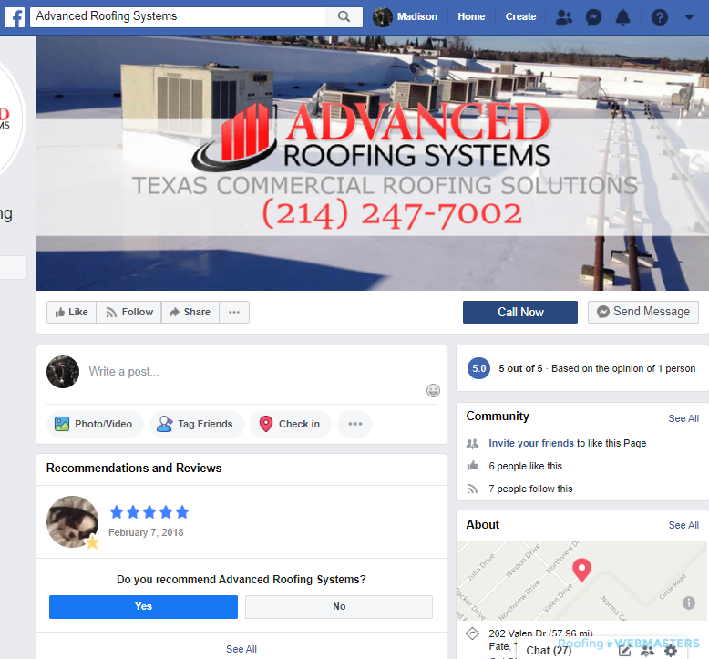 Roofing Business Facebook Profile