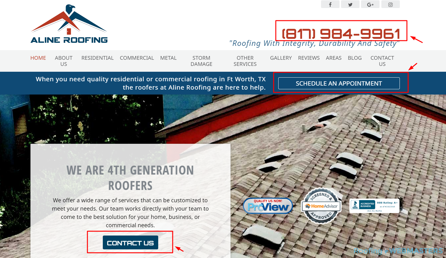 Roofing Call To Action Examples