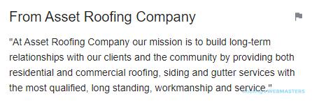 Roofing Company Description