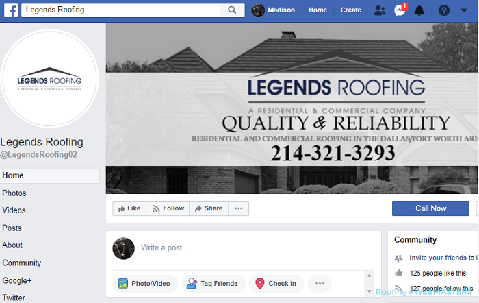 A Roofing Company's Facebook Business Profile