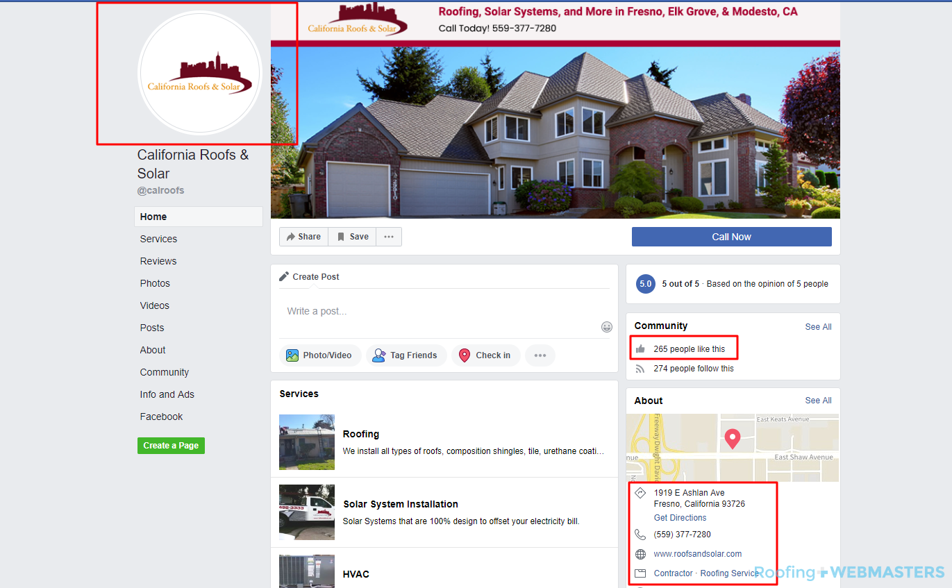 Roofing Company Facebook Screenshot