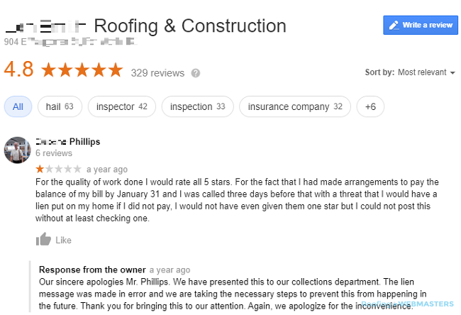 A Roofing Company Addresses a Negative Google Review