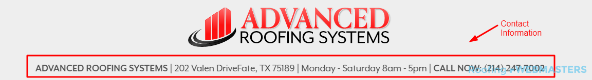 Roofing Contact Information Screenshot