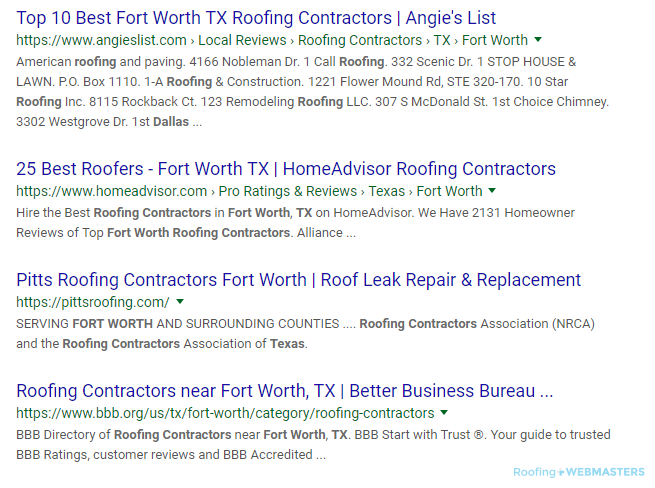 A Review Service is Ranking #1 on Google for Roofing