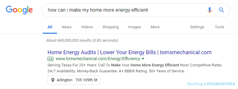 Google Search Results While Looking for Energy-Efficient Roofing
