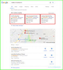 Google Roofing Ad Top Location