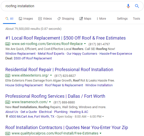 Local SEO for Roofers Dominated by Ad Listings