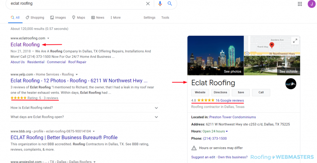 Roofing SEO SERP