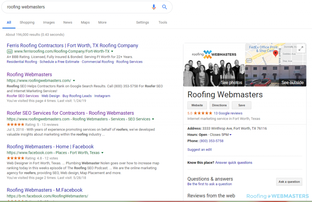 Google My Business Google Homepage
