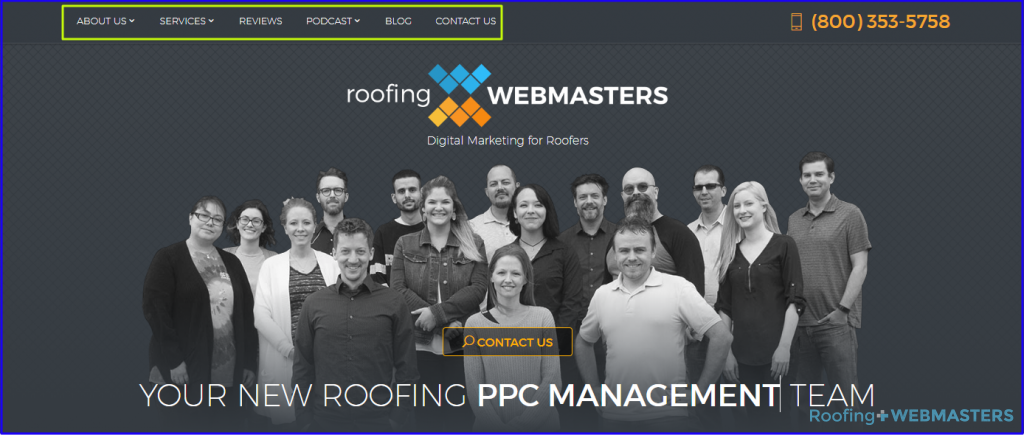 Roofing Webmasters Page Structure