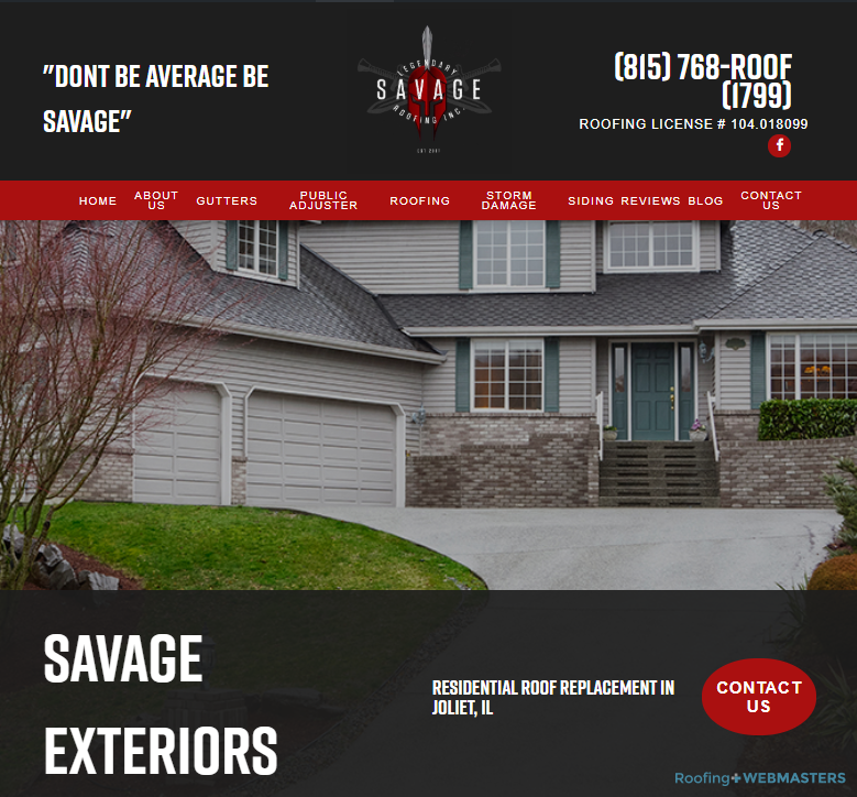 A Look at the Roofing Client's New Homepage Design