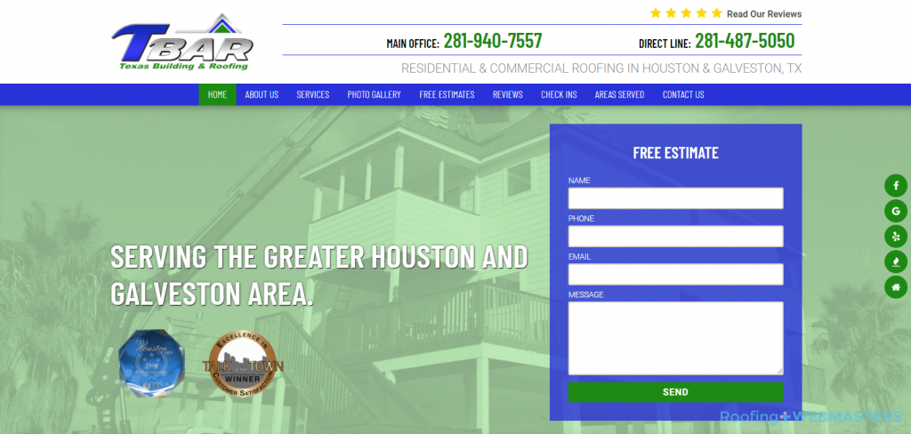TBar Roofing Website