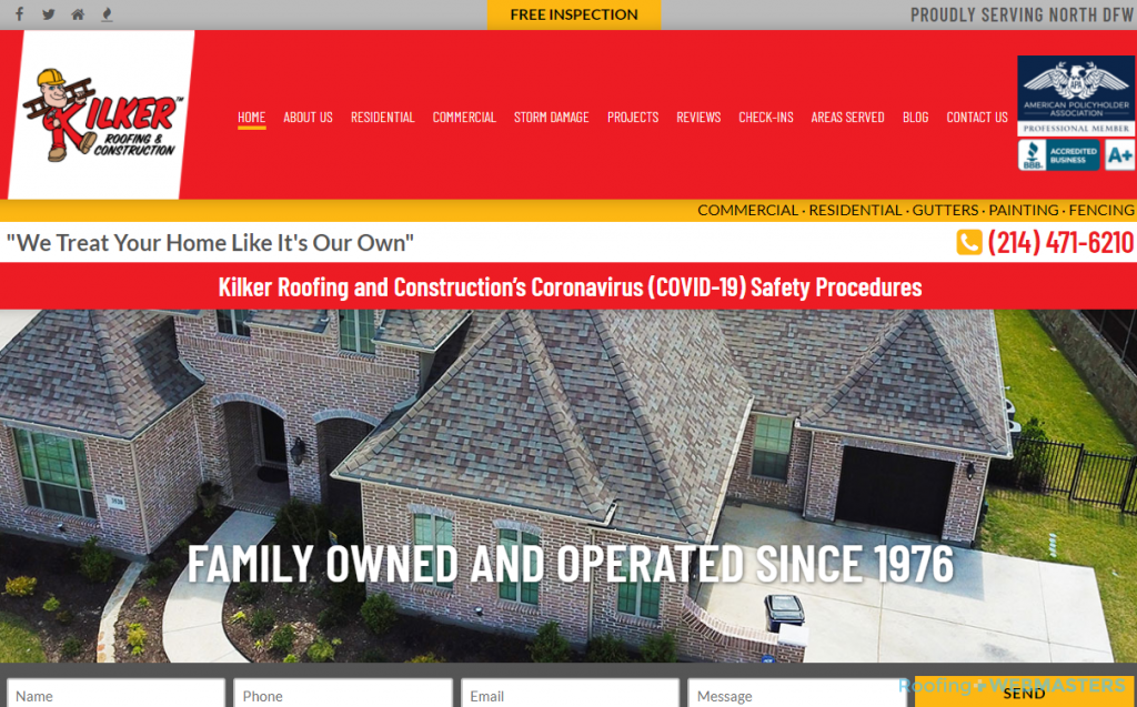 Web Design Example for Roofers