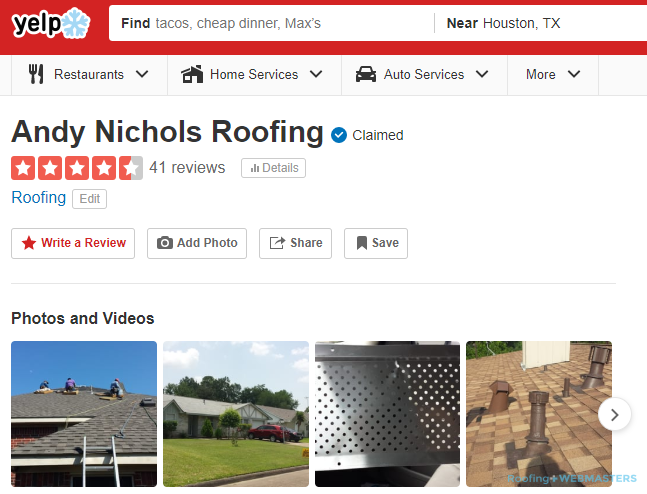 A Yelp Profile For a Roofer in Houston